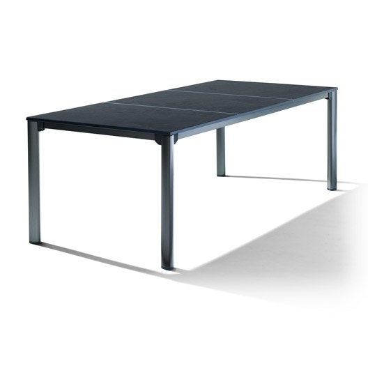 table de jardin puroplan rectangulaire gris 8 personnes leroy merlin. Black Bedroom Furniture Sets. Home Design Ideas