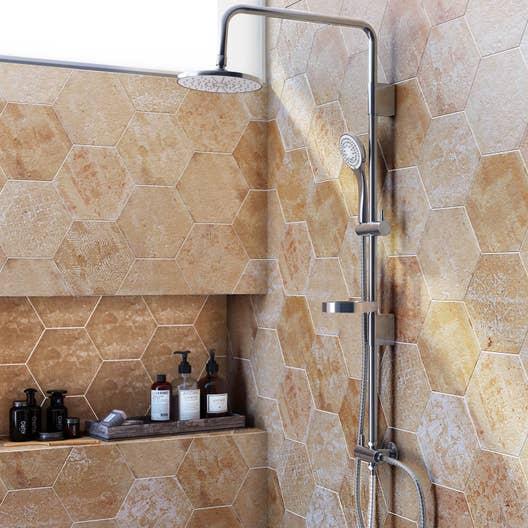 carrelage sol et mur beige street hexagone x cm leroy merlin. Black Bedroom Furniture Sets. Home Design Ideas