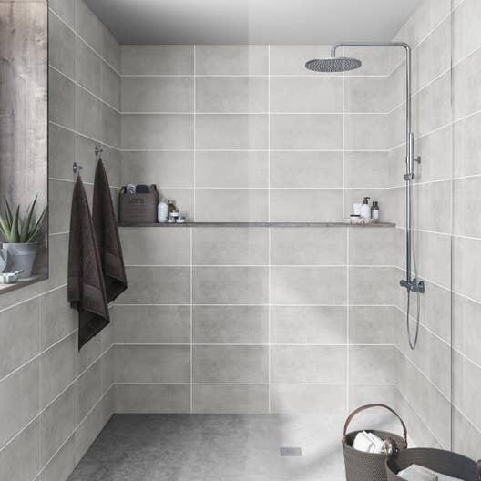 fa ence mur gris ogan x cm leroy merlin. Black Bedroom Furniture Sets. Home Design Ideas