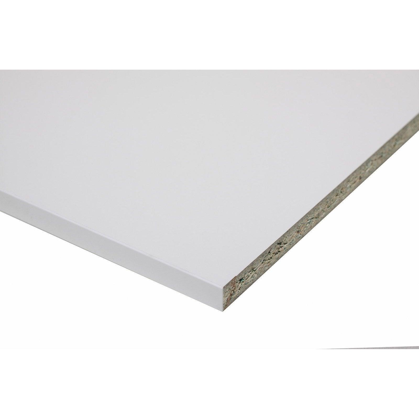 Plan de travail stratifié Blanc Brillant L.315 x P.65 cm, Ep.16 mm