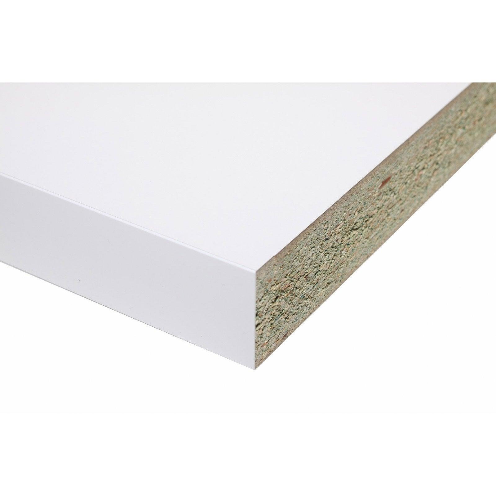 Plan de travail stratifié Blanc Brillant L.315 x P.65 cm, Ep.58 mm