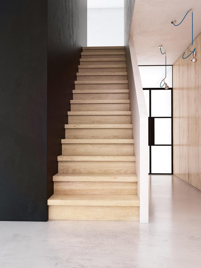 Escalier Bois Entre Deux Murs lot de 2 marches pour rénovation escalier chêne gris, l.100 x l.25 cm