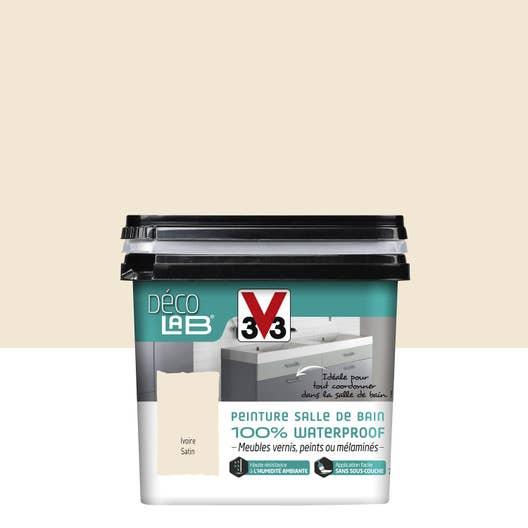 Peinture d colab meuble salle de bain 100 waterproof v33 blanc ivoire l leroy merlin - Blanc comme l ivoire ...