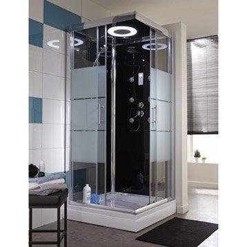 Cabine de douche Optima2 noire hydromassante mitigeur carré 80x80cm