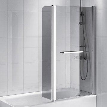 Pare-baignoire 2 volets verre de sécurité 6 mm fumé, Purity2