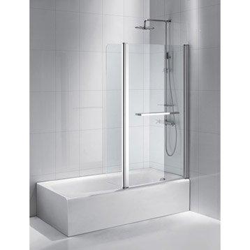 Pare-baignoire 2 volets verre de sécurité 6 mm transparent, Purity2