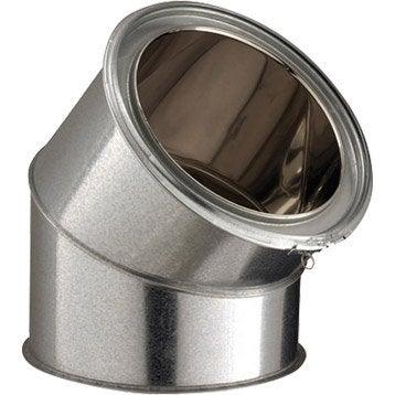Coude pour conduit double paroi POUJOULAT, D150 mm 45° Ep.25 mm