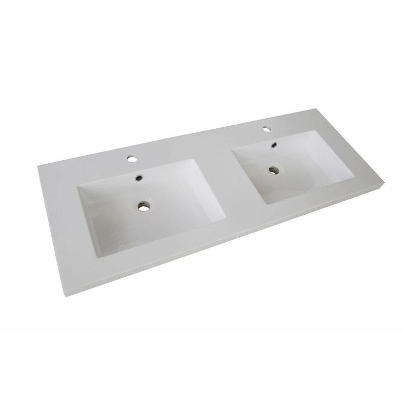 Plan vasque double résine l.120 x P.50 cm blanc