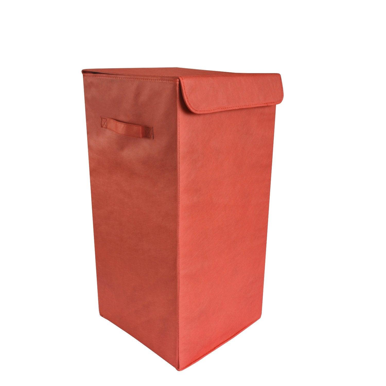 Panier à linge plastique Pliable, rouge, l.30 x H.55 x P.30 cm