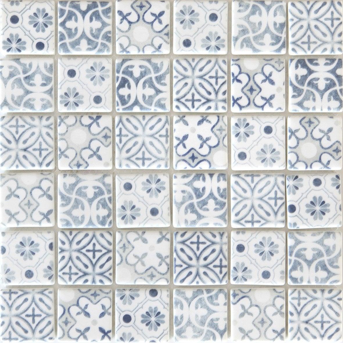 Mosaïque mur Graphik cement bleu gris