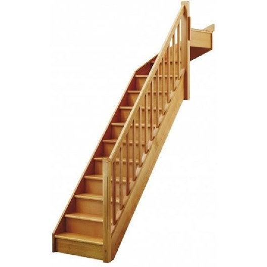 escalier quart tournant soft classic marches structure bois massif h 234 tre brut leroy merlin