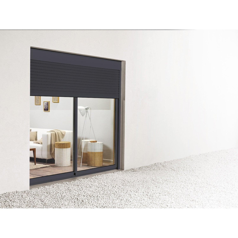 baie vitrée aluminium, h.200 x l.240 cm | leroy merlin