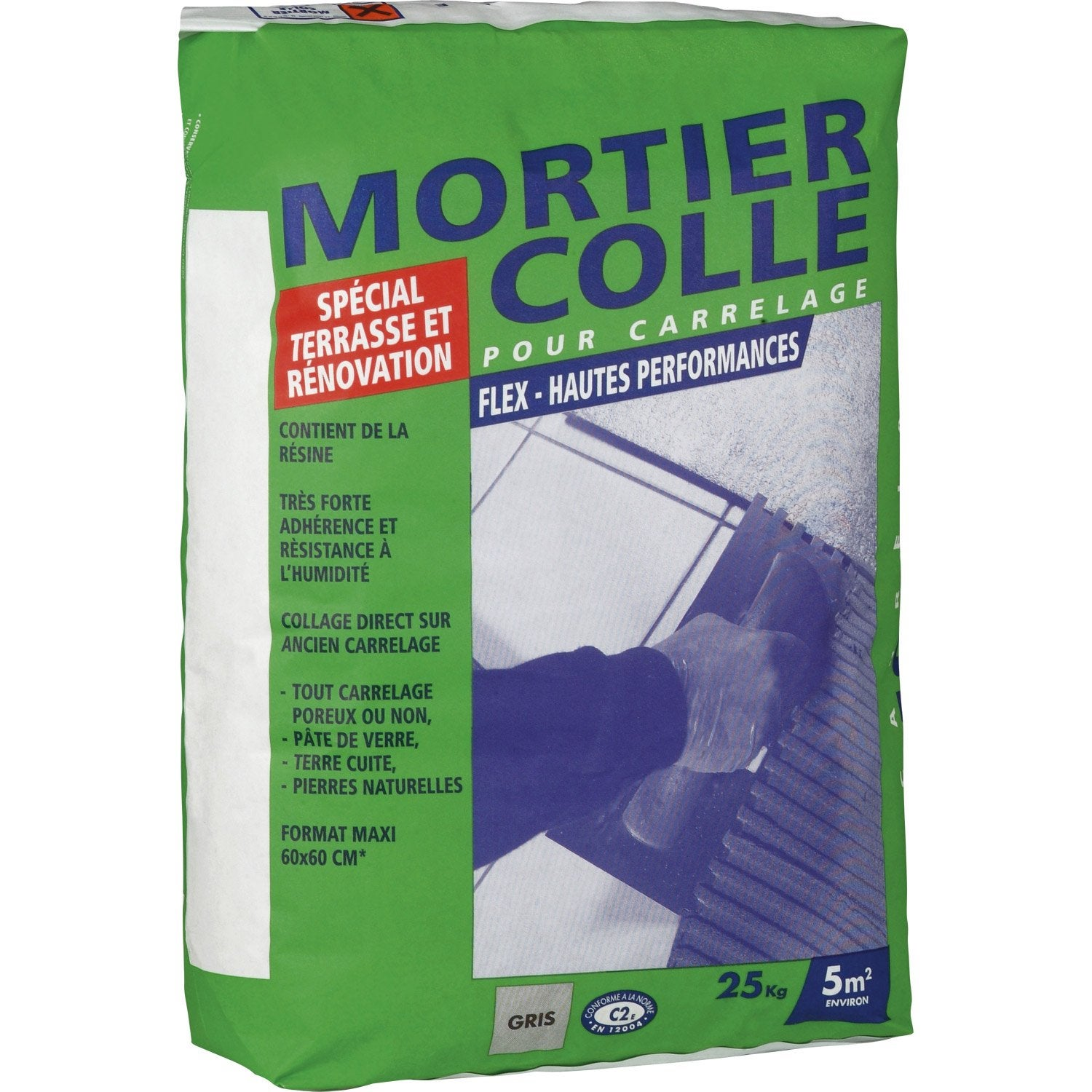 mortier colle flex, gris, 25 kg | leroy merlin