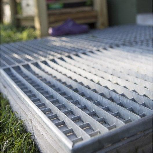 grille caillebotis acier galvanisé l.54 x l.54 cm mea | leroy merlin