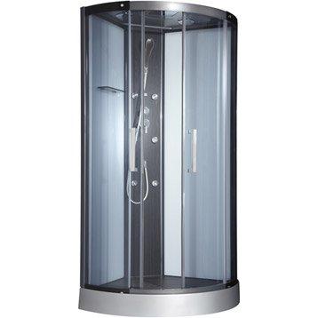 Cabine de douche Pure hydromassante mitigeur 1/4 de cercle 95x95cm