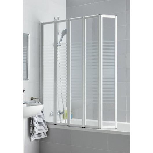 pare baignoire 5 volets pivotant pliant 140x112 cm verre. Black Bedroom Furniture Sets. Home Design Ideas