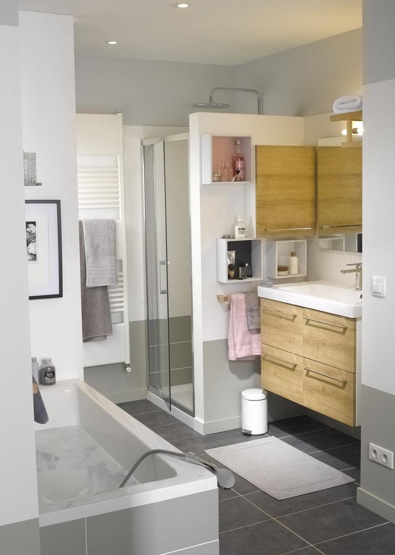 Une salle de bain style contemporain gris et bois leroy - Salle de bain gris et bois ...