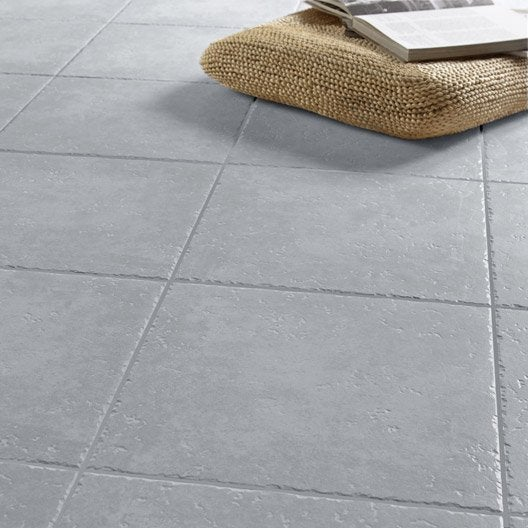 Carrelage sol gris effet pierre michigan x cm for Carrelage gris clair