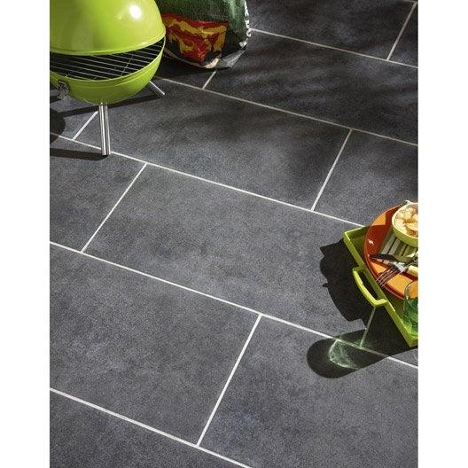 Carrelage noir effet b ton factory x cm leroy for Carrelage exterieur noir