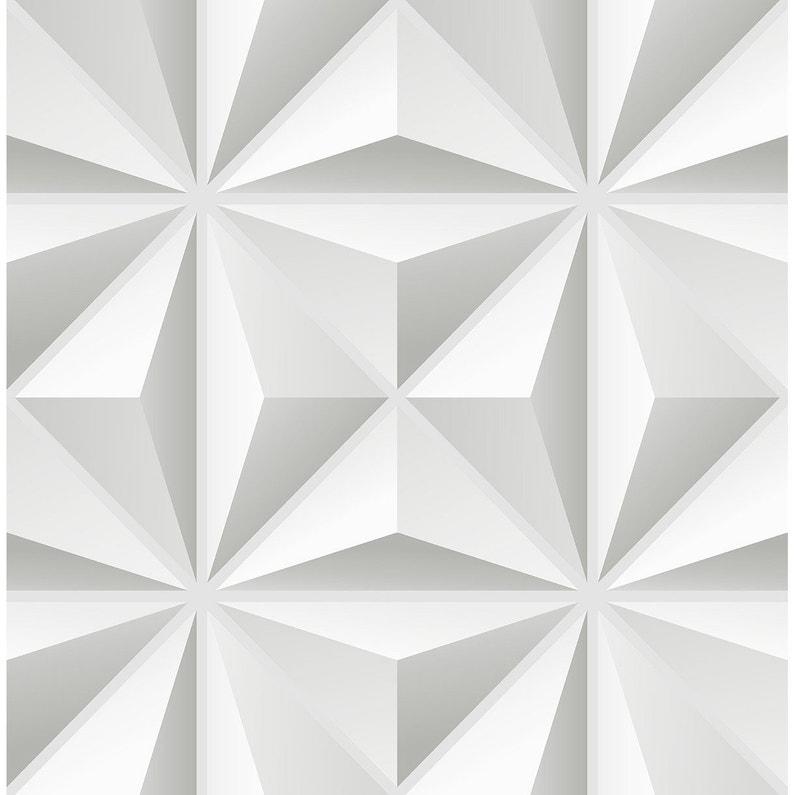 Papier Peint 3d Leroy Merlin.Papier Peint Vinyle 3d Grand Triangle Blanc