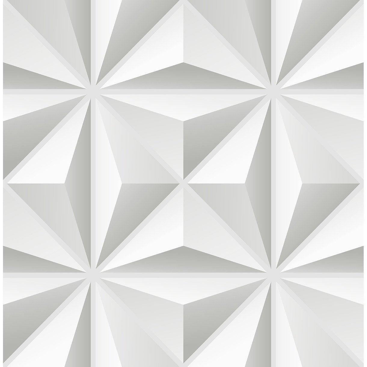 Papier Peint Vinyle 3d Grand Triangle Blanc