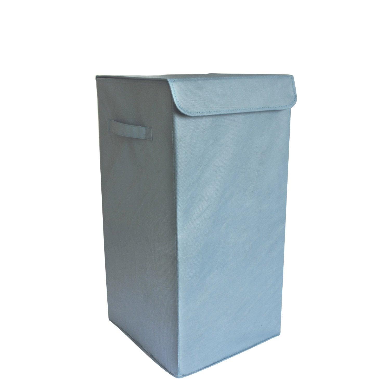 Panier à linge plastique Pliable, bleu, l.30 x H.55 x P.30 cm