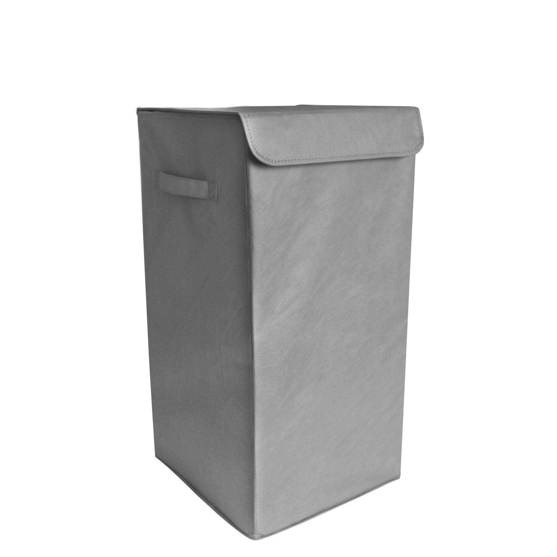 Panier à linge plastique Pliable, gris, l.30 x H.55 x P.30 cm