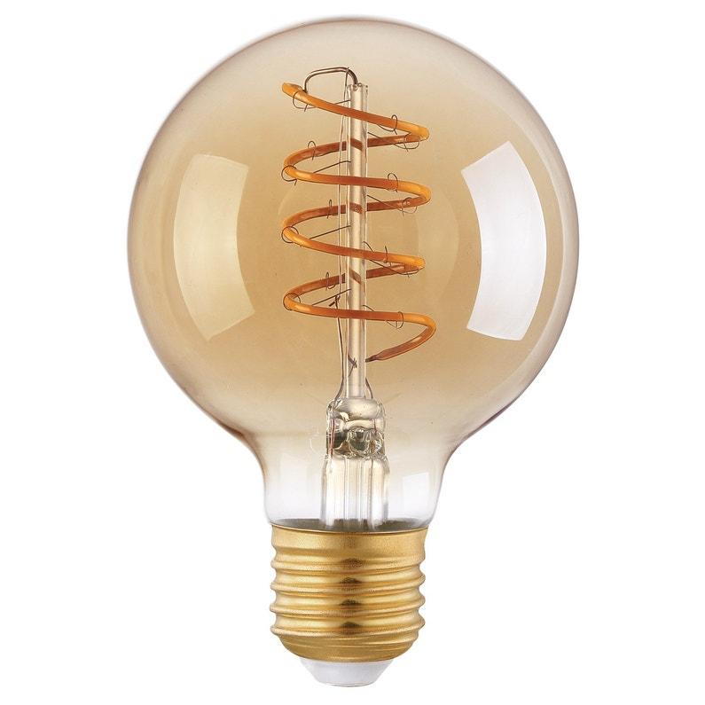 Ampoule Décorative Led Ambré Globe 80 Mm E27 260 Lm 35 W Blanc Chaud Eglo