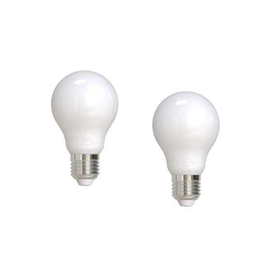 ampoules filament led opalines e27 8w 806 lm quiv 60w 3000k lot de 2 leroy merlin. Black Bedroom Furniture Sets. Home Design Ideas