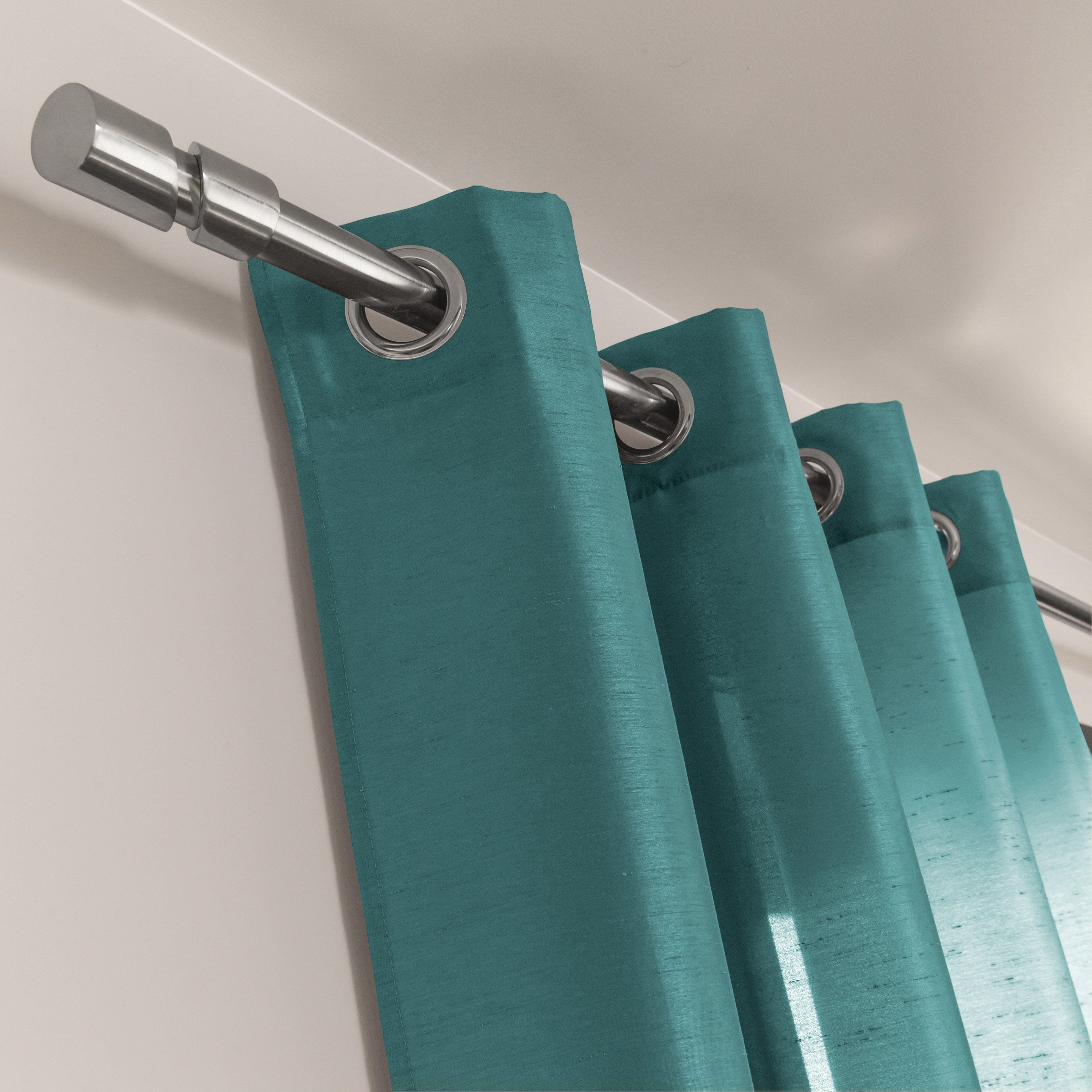 Rideau tamisant silka turquoise x cm inspire leroy merlin for Rideau turquoise