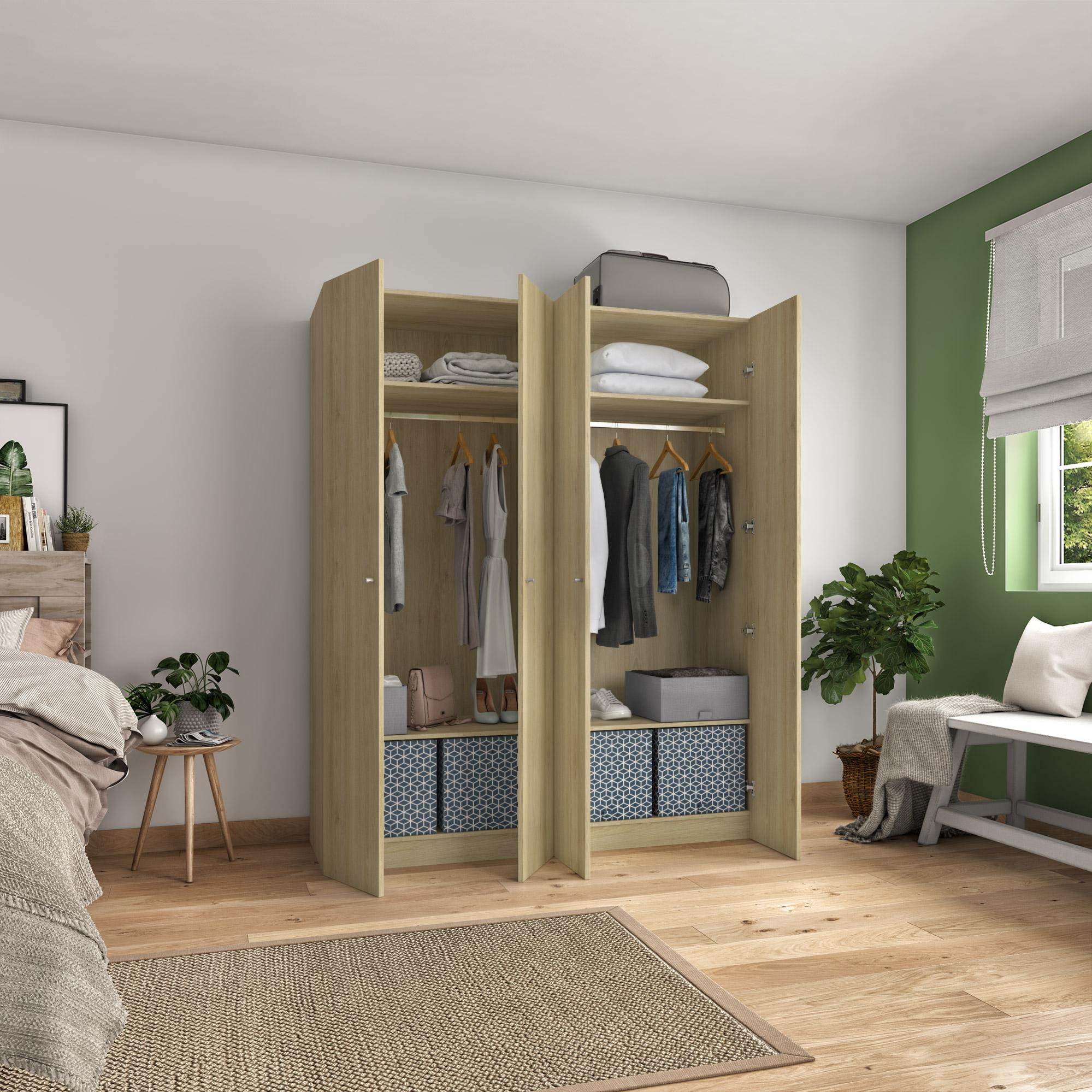 Armoire Penderie H 200 X L 160 X P 60 Cm Home Leroy Merlin