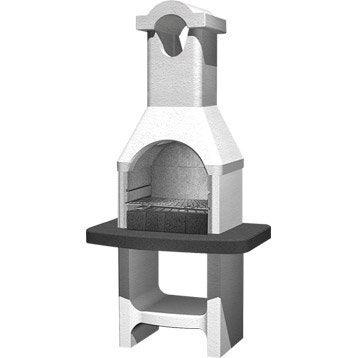 Barbecue en béton béton gris clair. à crépir Torquay, l.58 x L.88 x H.177 cm