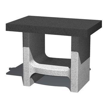 Support à plancha en béton gris et noir Happy lilly, l.52 x L.80 x H.64 cm