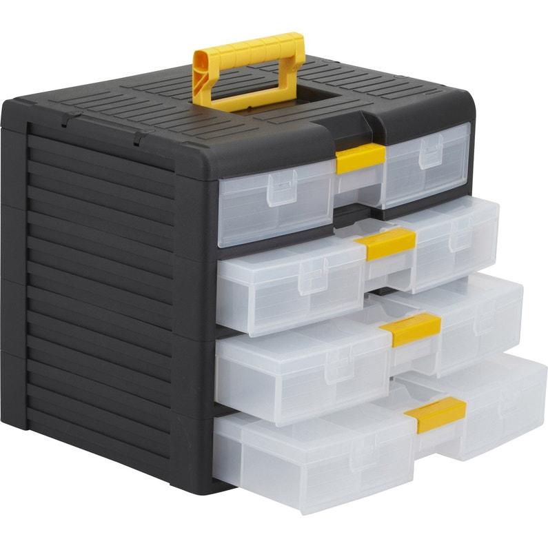 Casier à Vis Plastique 4 Tiroirs H 334 X L 391 X P 29 Cm