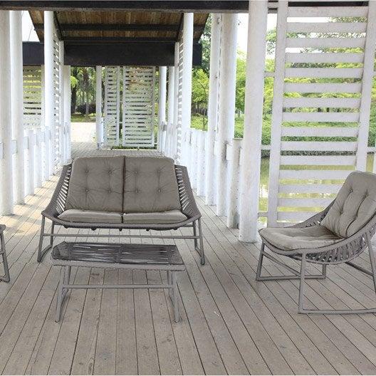 Salon jardin maine r sine plastique gris vieilli 1 table for Fauteuil jardin plastique gris