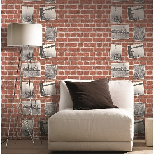 papier peint papier concept bricks rouge leroy merlin. Black Bedroom Furniture Sets. Home Design Ideas