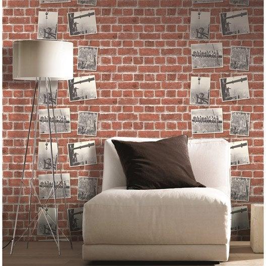 Papier peint papier concept bricks rouge leroy merlin - Papier peint leroy merlin ...