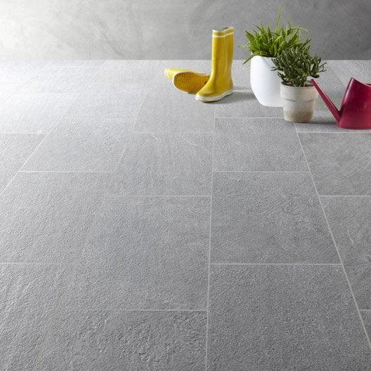 Carrelage sol gris effet pierre story x cm leroy merlin - Carrelage gris exterieur ...