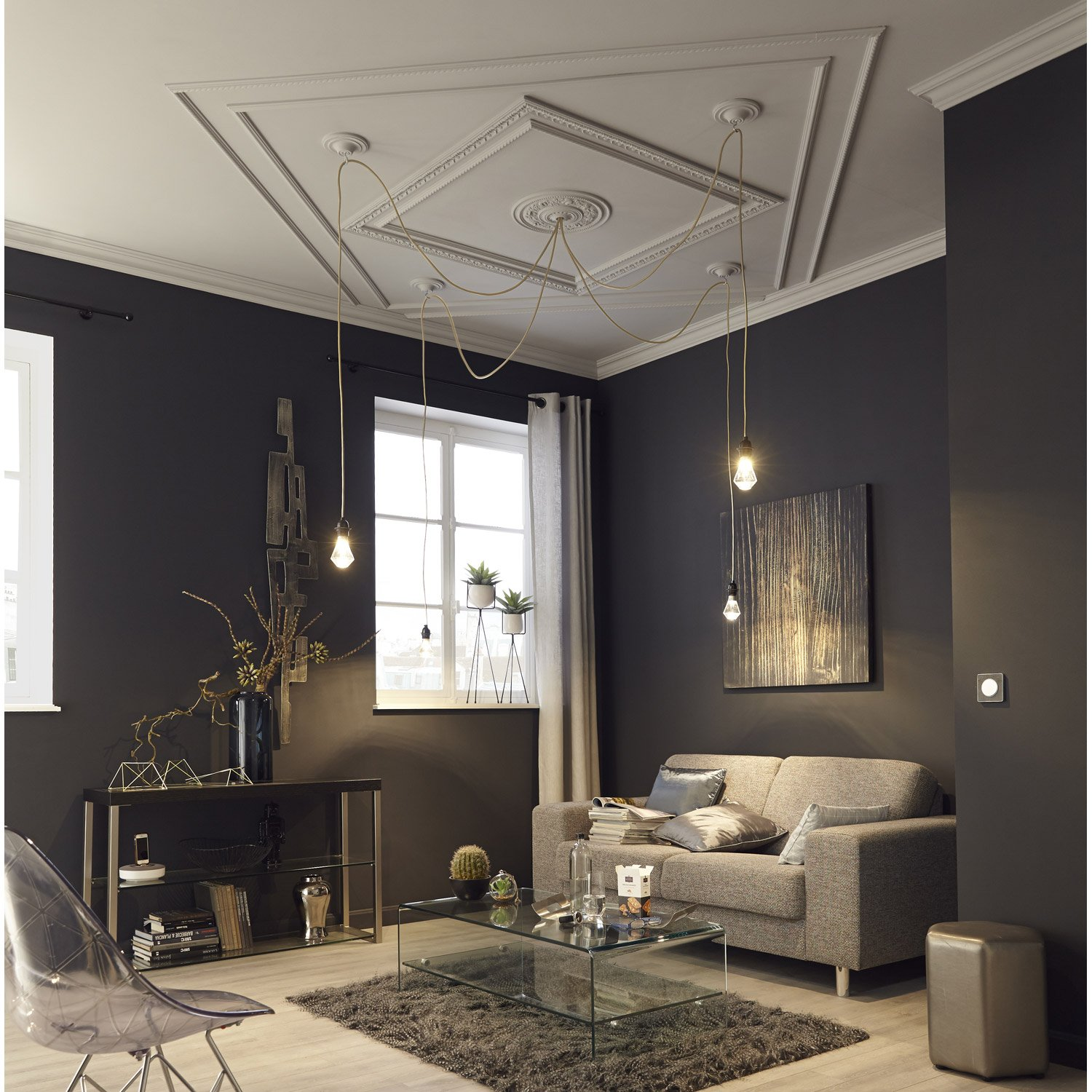 tringle rideau extensible city noir brillant de 160 300 cm inspire leroy merlin. Black Bedroom Furniture Sets. Home Design Ideas