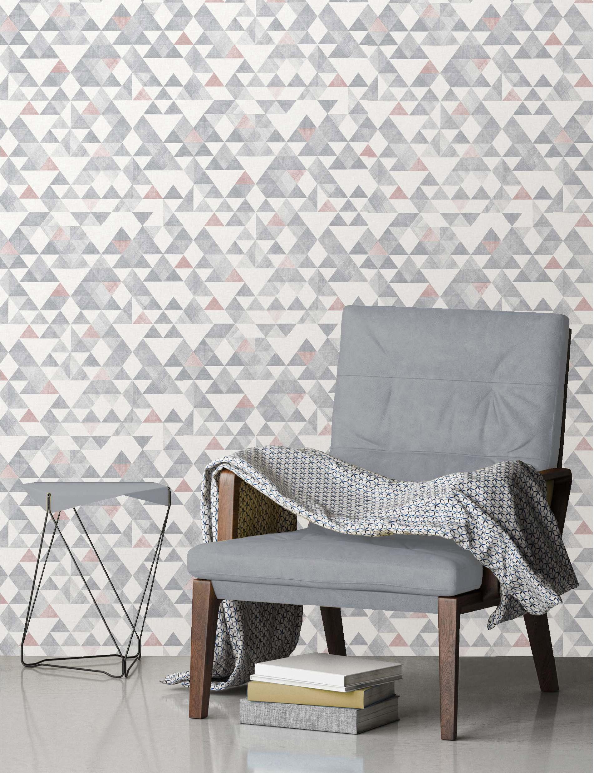 papier peint vinyle triangle tribal rose et gris leroy merlin. Black Bedroom Furniture Sets. Home Design Ideas
