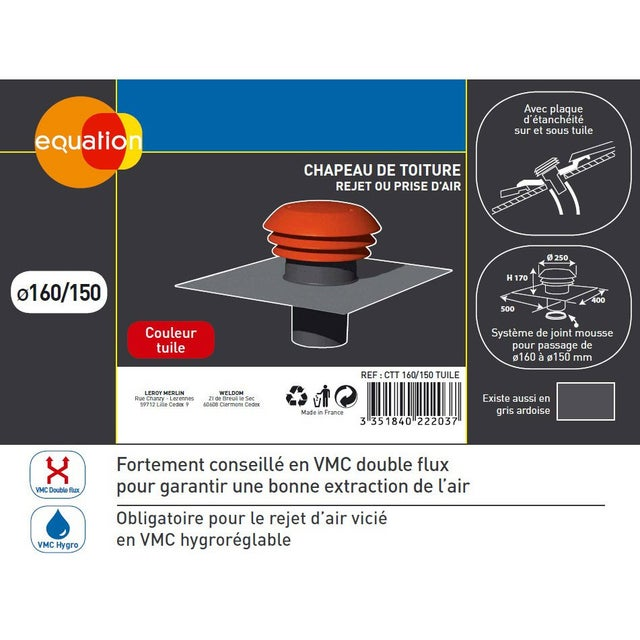 Chapeau De Toiture Tuile Pvc Equation Diam 160 150 Mm