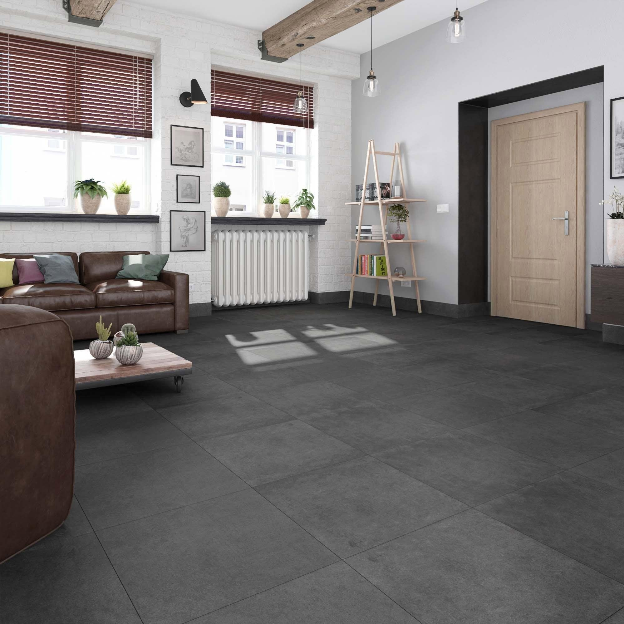 Carrelage sol noir aspect carreau de ciment l.59.7 x L.59.7 cm