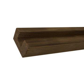 Demi-poteau bois en u marron, H.240 x l.9 x P.5 cm