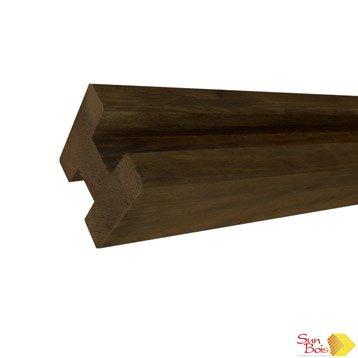 Poteau bois en h marron, H.240 x l.9 x P.9 cm