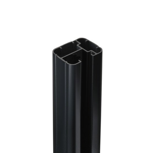Poteau aluminium en h gris x l 6 5 x p 5 cm leroy for Poteau bois 12x12 leroy merlin