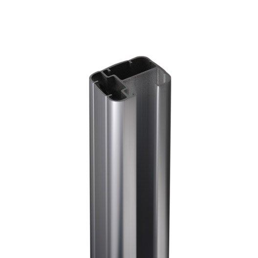 poteau aluminium en h gris x l 6 5 x p 5 cm leroy. Black Bedroom Furniture Sets. Home Design Ideas