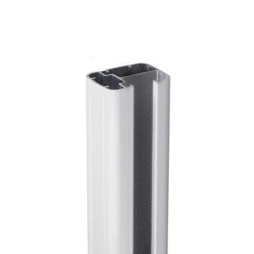 Poteau aluminium en h blanc, H.231.5 x l.6.5 x P.5 cm