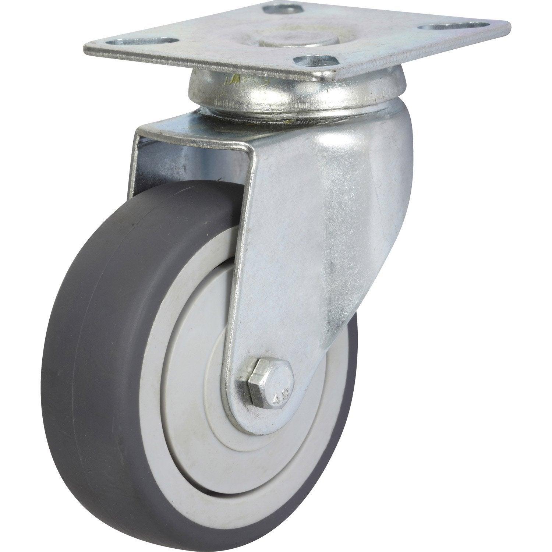 roulette pivotante à platine, diam.75 mm | leroy merlin