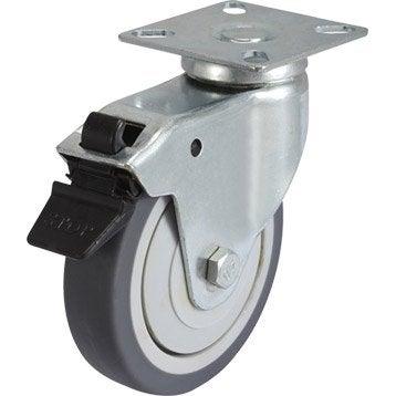 Roulette pivotante à freins à platine, Diam.100 mm