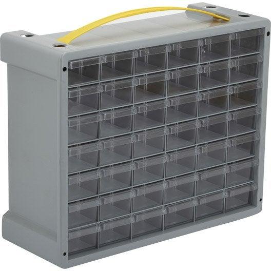 casier vis en plastique 42 tiroirs haut 32 5 x larg 40 5 x prof 15 cm leroy merlin. Black Bedroom Furniture Sets. Home Design Ideas